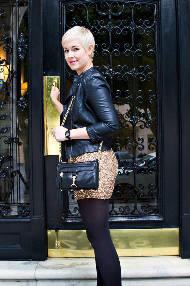 Parker dress, Rebecca Minkoff Mini Mac, sequins and leather, sequin dress for daytime, gold sequined dress