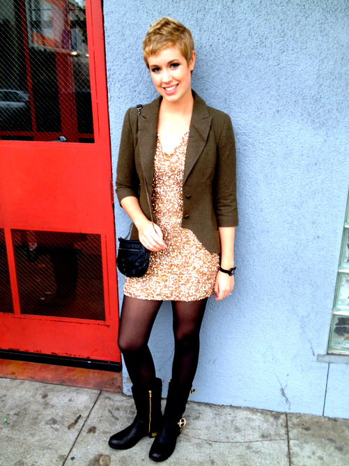 Pyramid Collection blazer, Parker sequin dress, Vince Camuto boots, Urban Outfitters purse