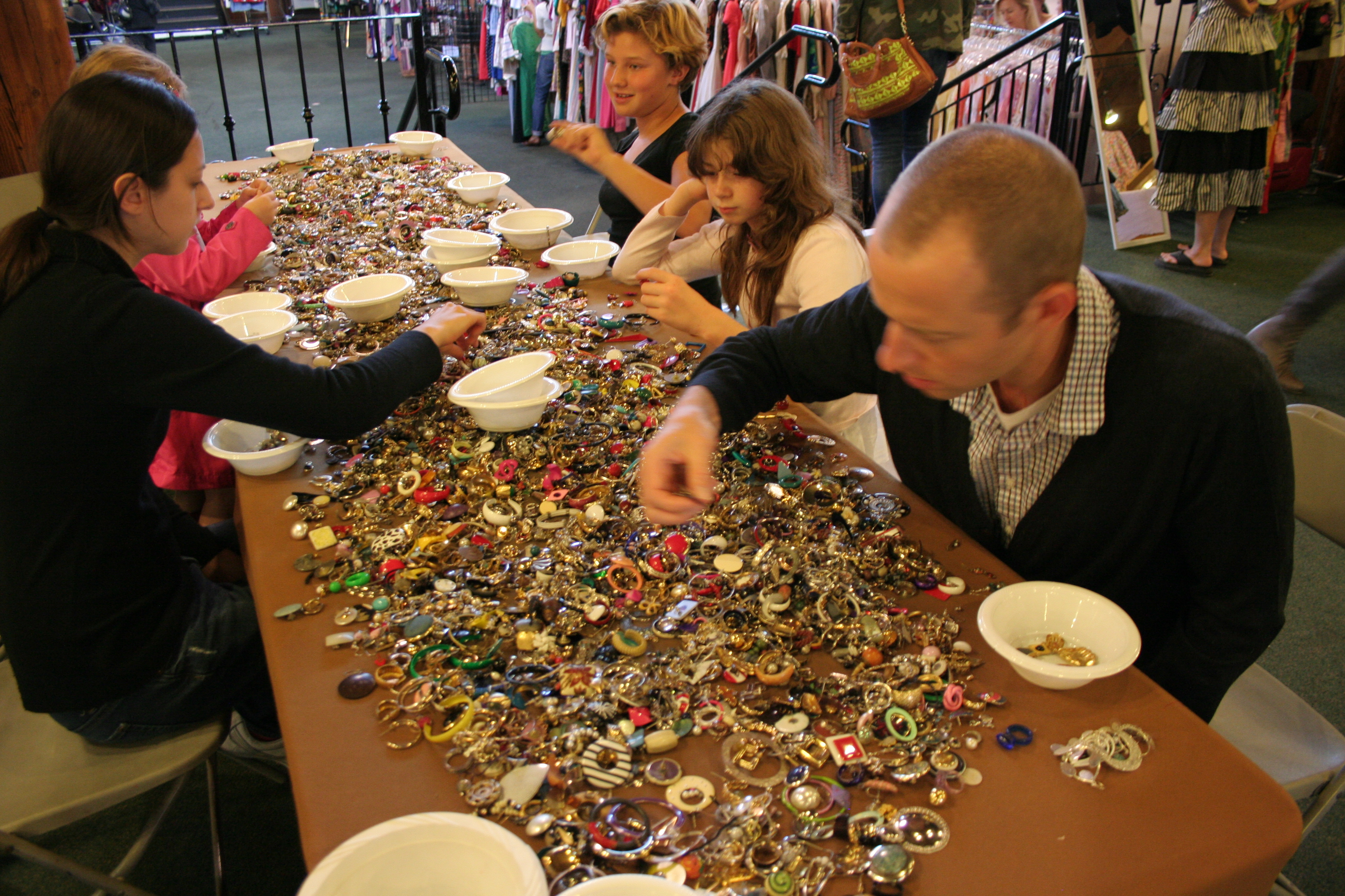 Button sorting at San Francisco Vintage Fashion Expo, copyright James Winstead