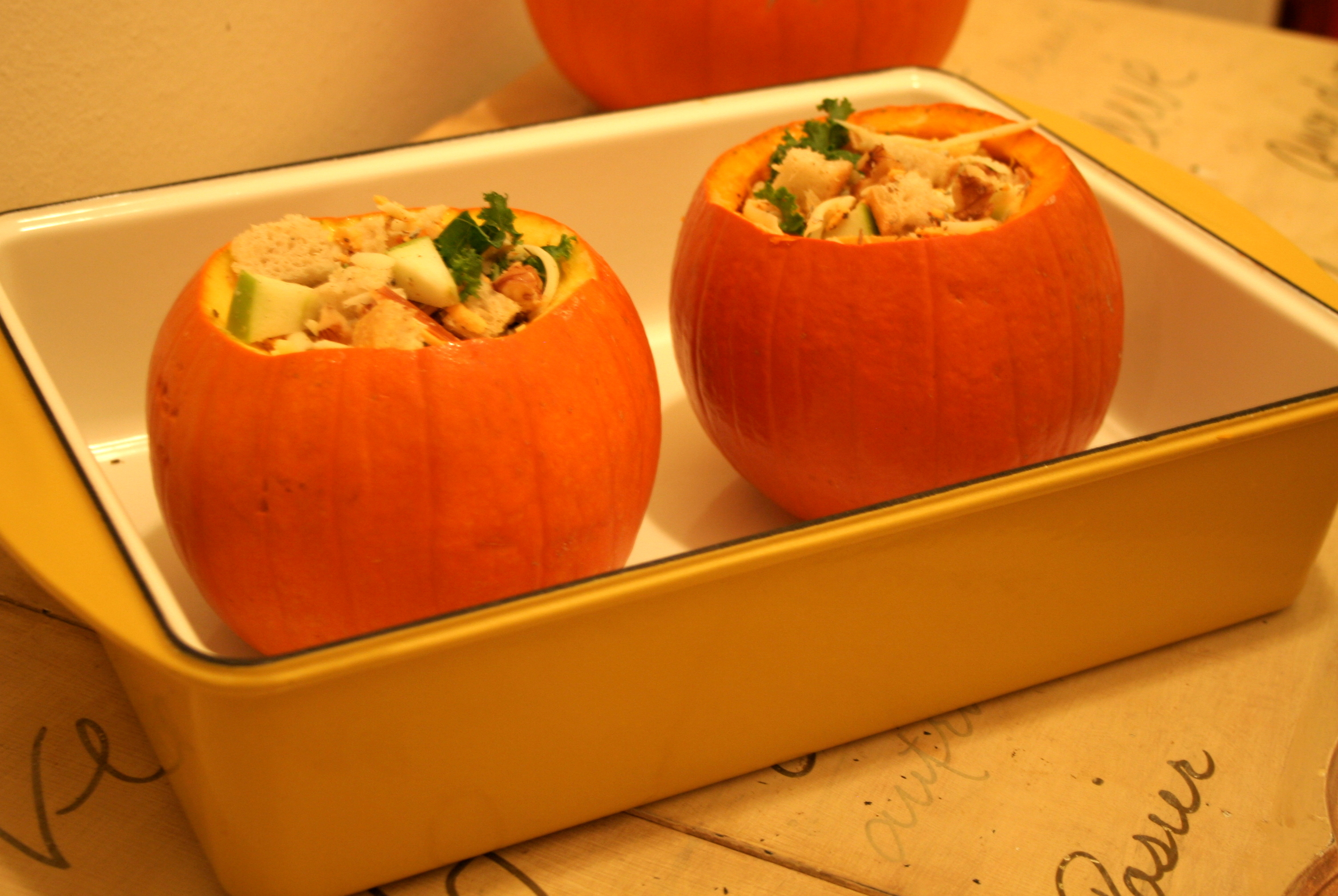 Unbaked Pumpkins in Dish