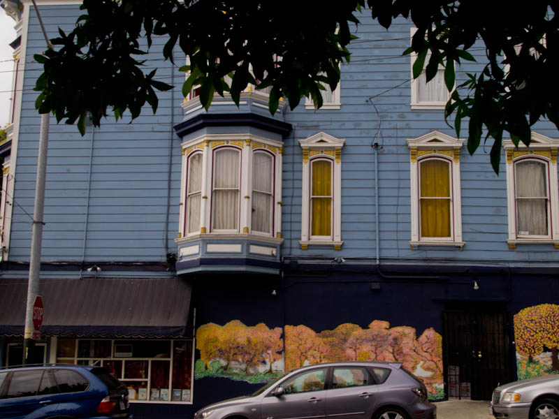 Street view of the falling leaves mural in the Haight, San Francisco