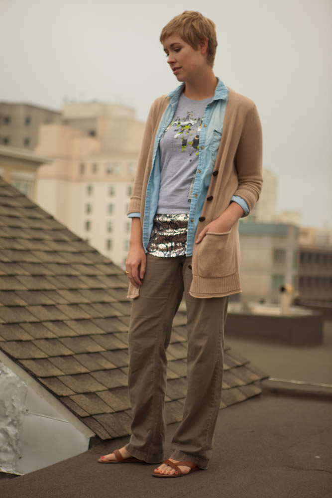 Super Layers with Cardigan, Chambray, Sequins, Zombie T-Shirt