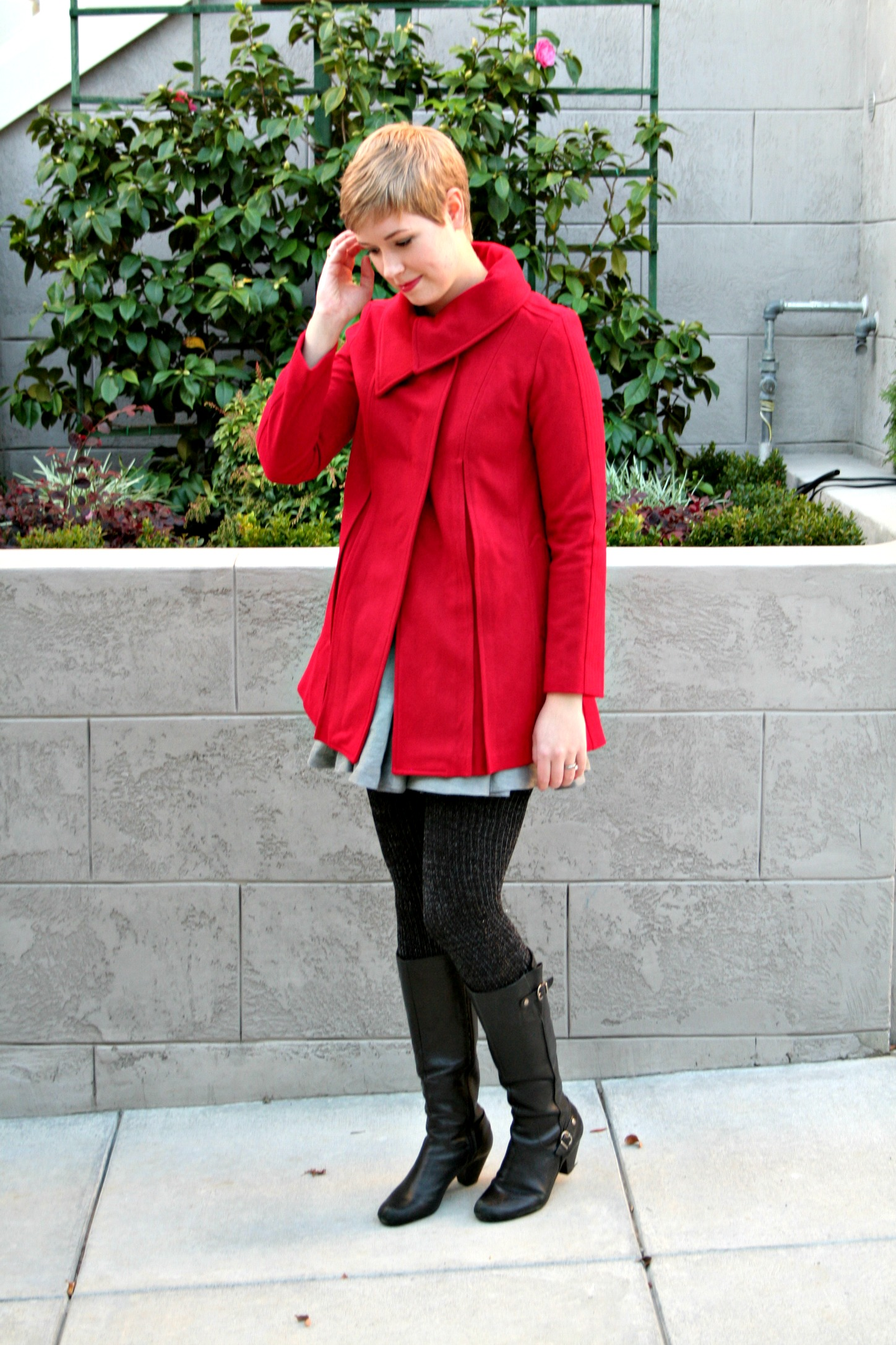Modcloth coat with shimmer tights and black boots