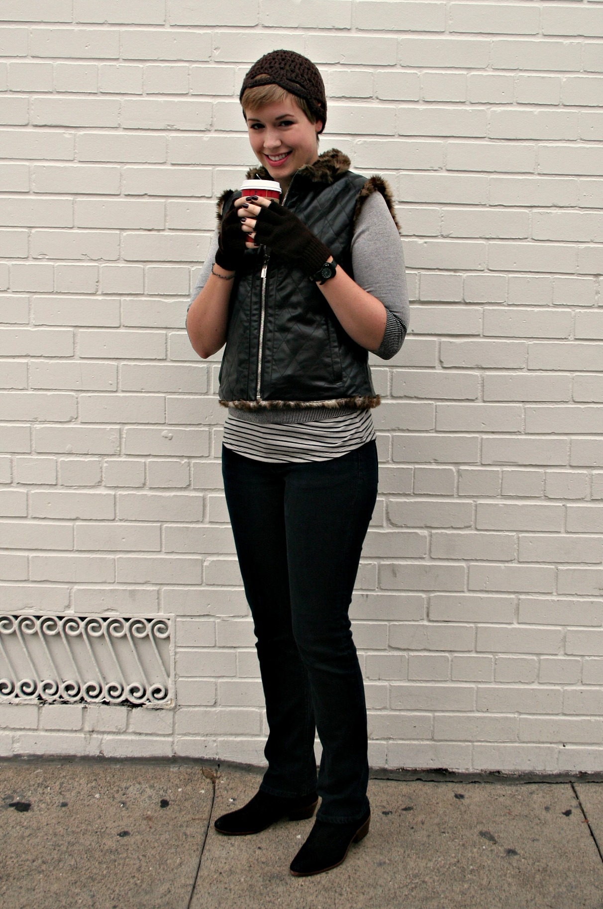 """Faux leather vest, skinny black jeans, and Sam Edelman """"Petty"""" booties"""