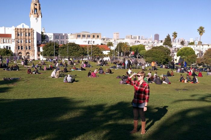 Dolores Park, Mission District, flannel shirt with jean shorts, women's flannel shirt, Marc Jacobs guitar watch