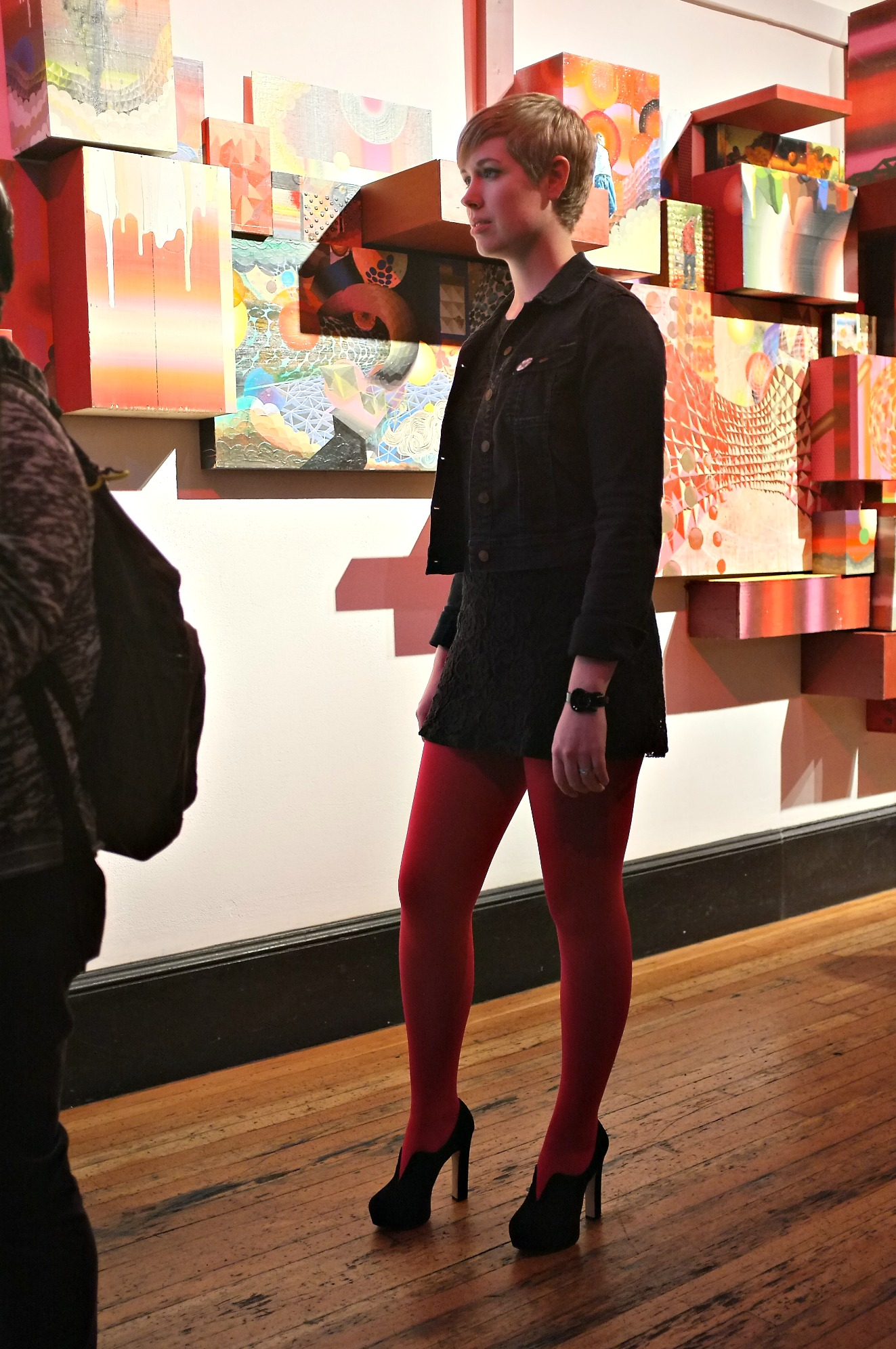 111 Minna, Minna Gallery, red tights, red tights with black, San Francisco style