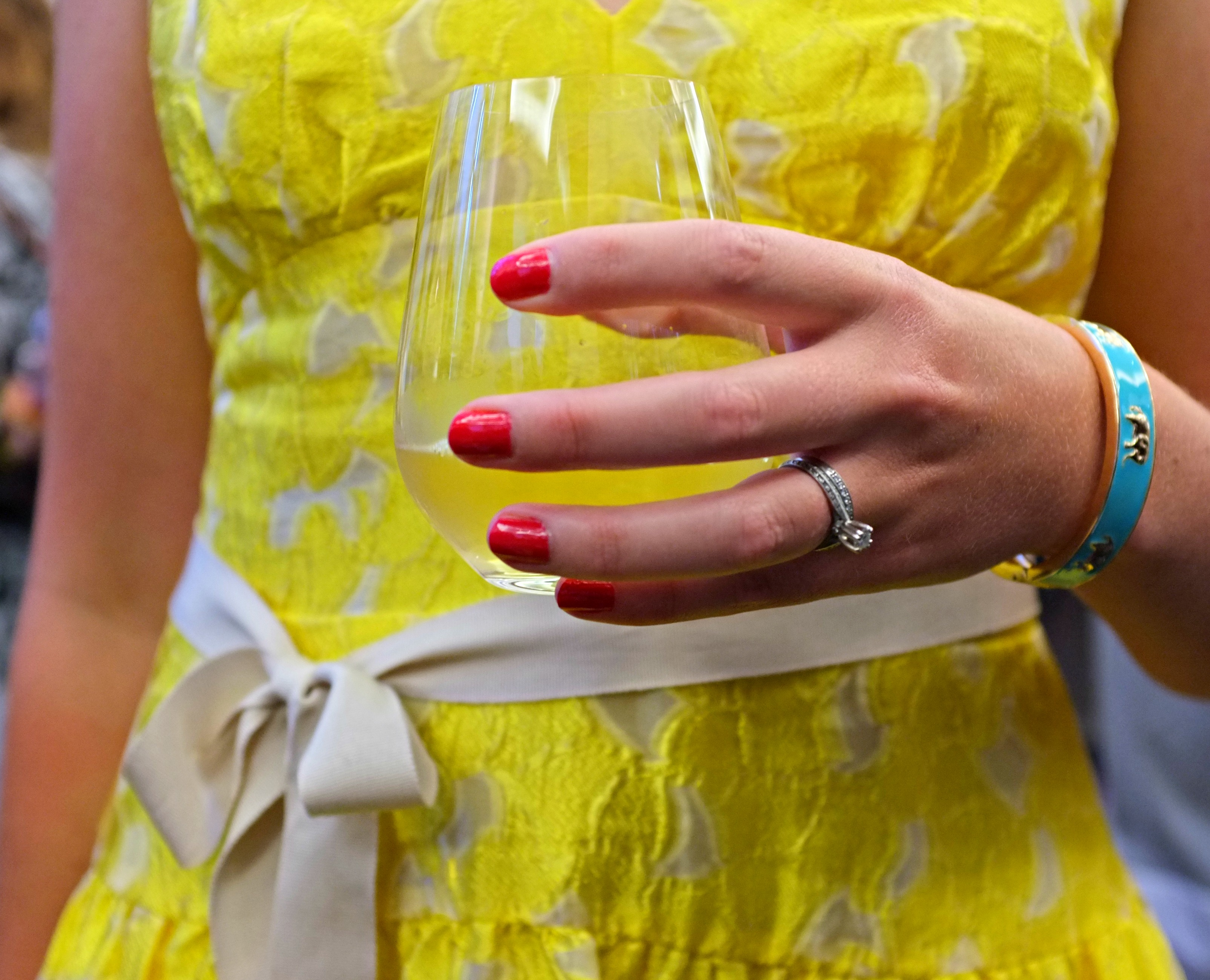 BCBG yellow dress, bright pink manicure, Fornash elephant bangle, elephant bangle, elephant jewelry