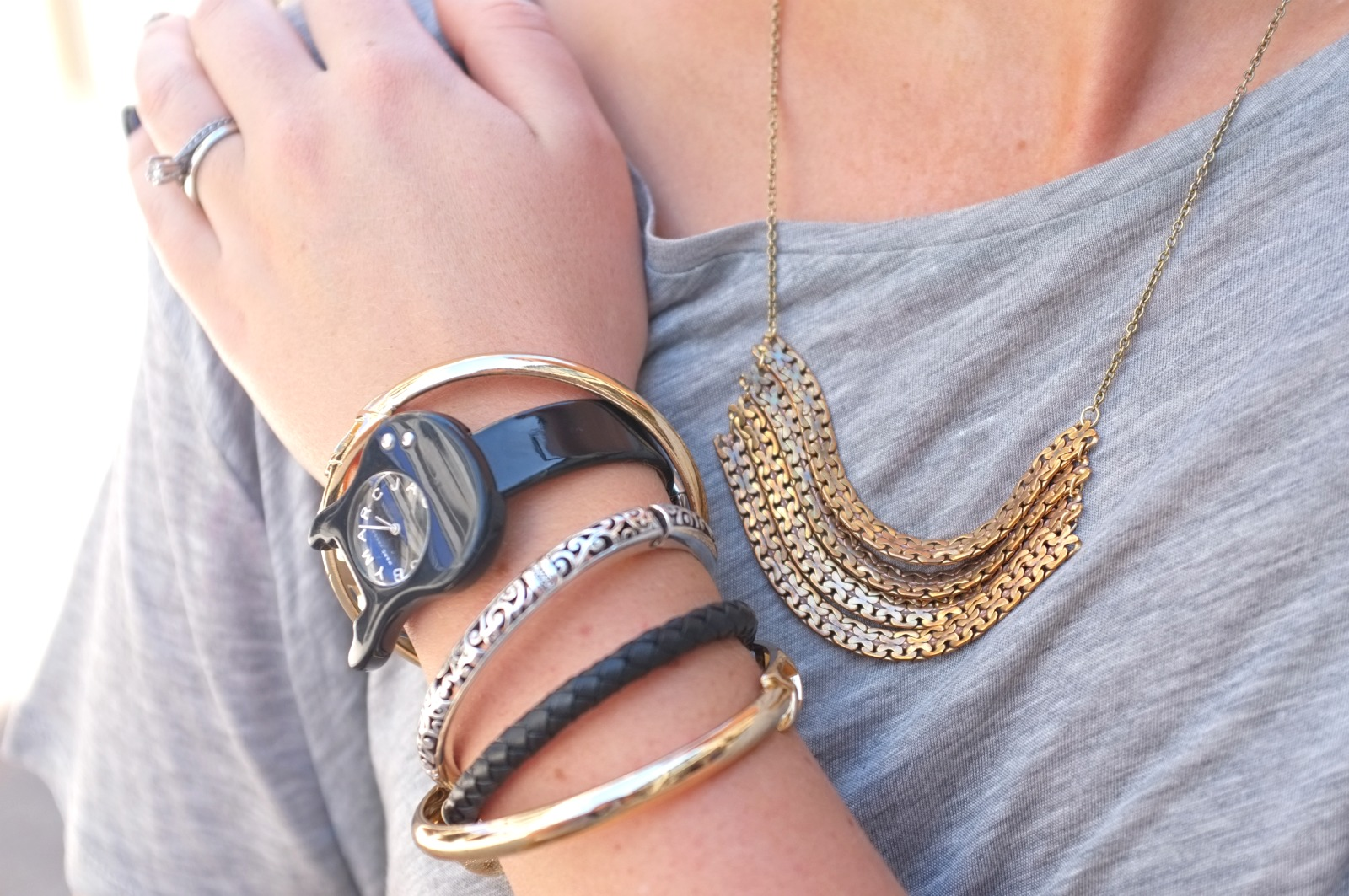 Rodeo Drive, Beverly Hills Rodeo Drive, Beverly Hills outfit, Los Angeles style, arm party, stacking bracelets, gold chain necklace