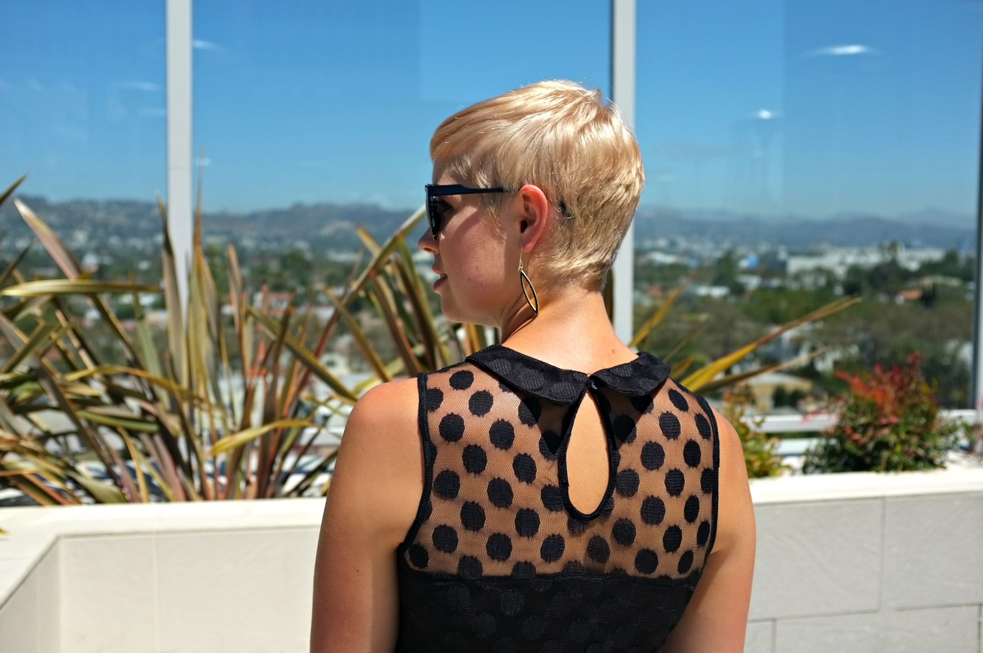 The Roof on Wilshire, rooftop brunch, rooftop cocktails, Beverly Hills style, polka dot dress, Xhiliration polka dot dress, Target polka dot dress