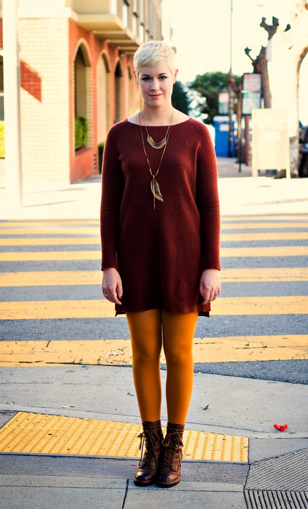 Vince sweaterdress, mustard tights, tights for fall, fall color outfit