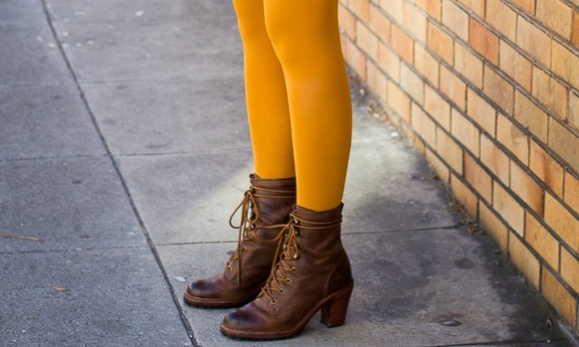 Frye , Vince sweaterdress, mustard tights, tights for fall, fall color outfit