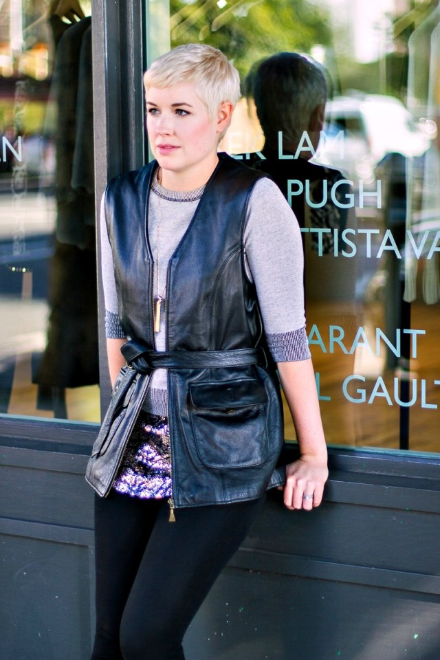 sequins for winter, sequins and leather outfit, leather vest outfit, leather vest style, San Francisco style